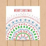 Plantilla de la tarjeta de felicitación de la Navidad y del Año Nuevo Imágenes de archivo libres de regalías
