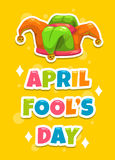 Plantilla de la tarjeta de felicitación del día de April Fool s Fotografía de archivo libre de regalías