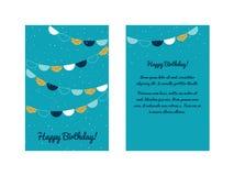 Plantilla de la tarjeta de felicitación del feliz cumpleaños Foto de archivo
