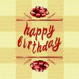 Plantilla de la tarjeta de felicitación del VECTOR del ` del feliz cumpleaños del `: arco y letras en textura de la materia texti Fotografía de archivo libre de regalías