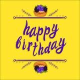 Plantilla de la tarjeta de felicitación del VECTOR del ` del feliz cumpleaños del `: torta de la baya en amarillo Imagen de archivo