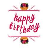 Plantilla de la tarjeta de felicitación del VECTOR del ` del feliz cumpleaños del `: torta de la baya en blanco Fotos de archivo libres de regalías