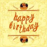 Plantilla de la tarjeta de felicitación del VECTOR del ` del feliz cumpleaños del `: torta dibujada mano de la baya en fondo de l Imagen de archivo libre de regalías