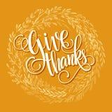 Plantilla de la tarjeta de la acción de gracias Acuarela pintada Imagen de archivo libre de regalías