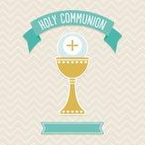 Plantilla de la tarjeta de la comunión santa Imagenes de archivo
