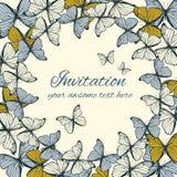 Plantilla de la tarjeta de la invitación con el ornamento de la mariposa Imagen de archivo libre de regalías