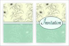 Plantilla de la tarjeta de la invitación con las peonías Fotos de archivo libres de regalías