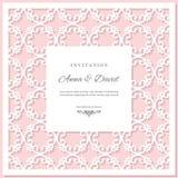 Plantilla de la tarjeta de la invitación de la boda con el marco de corte del laser Colores del rosa en colores pastel y del blan libre illustration