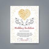 Plantilla de la tarjeta de la invitación de la boda con la mano dibujada Imágenes de archivo libres de regalías