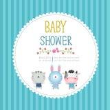 Plantilla de la tarjeta de la invitación de la fiesta de bienvenida al bebé en fondo azul ilustración del vector