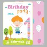 Plantilla de la tarjeta de la invitación de la fiesta de cumpleaños con lindo Imagenes de archivo