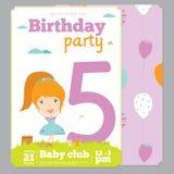 Plantilla de la tarjeta de la invitación de la fiesta de cumpleaños con lindo Foto de archivo