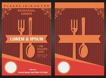 """Plantilla de la tarjeta de la invitación del partido de cena del †del menú """" Fotos de archivo libres de regalías"""