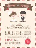 Plantilla de la tarjeta de la invitación de la boda Imagen de archivo libre de regalías