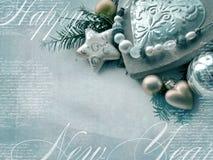 Plantilla de la tarjeta de Navidad El fondo del día de fiesta con la estrella, corazón, abeto ramifica, la Navidad juega, espacio Fotografía de archivo