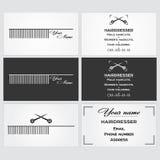 Plantilla de la tarjeta de visita para un peluquero Foto de archivo