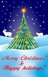 Plantilla de la tarjeta del Año Nuevo 2015 con el espolón del carnero con grandes cuernos, oveja Imagenes de archivo