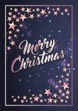 Plantilla de la tarjeta del cartel de la Navidad con la frontera de las estrellas ilustración del vector