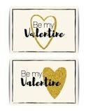 Plantilla de la tarjeta del día de San Valentín con el corazón del brillo del oro Imagenes de archivo