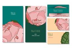 Plantilla de la tarjeta del estudio de la yoga Foto de archivo