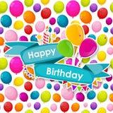 Plantilla de la tarjeta del feliz cumpleaños con el ejemplo del vector de los globos Imagen de archivo libre de regalías