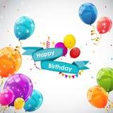 Plantilla de la tarjeta del feliz cumpleaños con el ejemplo del vector de los globos Foto de archivo