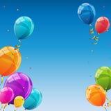 Plantilla de la tarjeta del feliz cumpleaños con el ejemplo del vector de los globos Imagenes de archivo