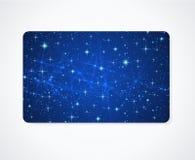 Plantilla de la tarjeta del negocio/de regalo. Cielo nocturno, estrellas Foto de archivo