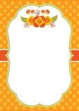 Plantilla de la tarjeta del vector con Autumn Flowers en la polca Dot Background Fotografía de archivo libre de regalías