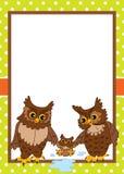 Plantilla de la tarjeta del vector con los búhos lindos Búhos del vector ilustración del vector