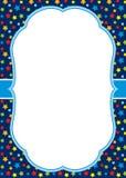 Plantilla de la tarjeta del vector con un marco blanco en fondo de las estrellas Fotografía de archivo libre de regalías