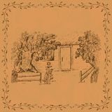Plantilla de la tarjeta del vintage con la cabaña libre illustration