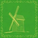 Plantilla de la tarjeta del vintage con el molino de viento ilustración del vector
