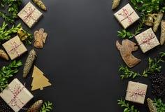 Plantilla de la tarjeta de felicitación de Noel Imagen de archivo