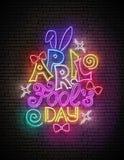 Plantilla de la tarjeta de felicitación para el día del ` s de April Fool stock de ilustración