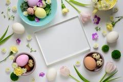 Plantilla de la tarjeta de felicitación de Pascua Fotografía de archivo libre de regalías