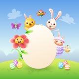 Plantilla de la tarjeta de felicitación de Pascua - conejito de pascua, pollo, flor, pájaro del abeja-comedor de las ovejas y mar libre illustration