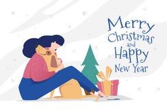 Plantilla de la tarjeta de felicitación por Año Nuevo y la Navidad ilustración del vector