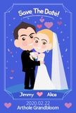 Plantilla de la tarjeta de la invitación de la boda con el ejemplo lindo libre illustration