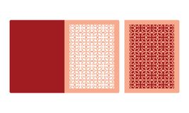 Plantilla de la tarjeta de la invitación de la boda del corte del laser Tarjeta de papel cortada con tintas con el modelo del cor libre illustration