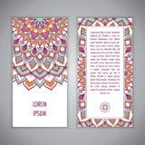 Plantilla de la tarjeta de la mandala Fotografía de archivo libre de regalías