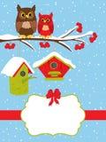 Plantilla de la tarjeta de Navidad del vector con los búhos que se sientan en elementos de la rama y del invierno ilustración del vector
