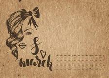 Plantilla de la tarjeta para el día del ` s de la mujer, el 8 de marzo bosquejo dibujado mano en el papel del arte Fotos de archivo libres de regalías