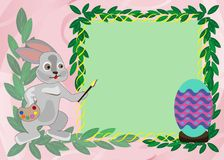 Plantilla de la tarjeta de pascua con el conejo stock de ilustración
