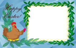 Plantilla de la tarjeta de pascua con el pollo Imagen de archivo