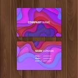 Plantilla de la tarjeta de visita con el diseño colorido, abstracto del corte del papel, ejemplo del vector ilustración del vector