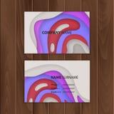 Plantilla de la tarjeta de visita con el diseño colorido, abstracto del corte del papel, ejemplo del vector libre illustration