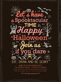 Plantilla de la tipografía del partido de Halloween para el Tarjeta-Cartel-aviador Imagenes de archivo