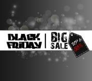 Plantilla de la venta de Black Friday con la etiqueta engomada en fondo del bokeh Fotos de archivo