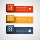 Plantilla de las banderas del número del vector para el infographics concepto del negocio de 3 pasos Fotografía de archivo